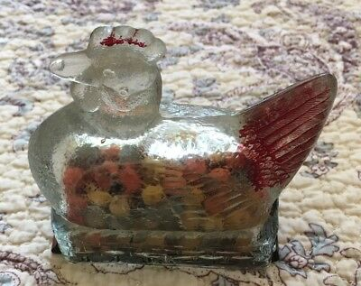 Vintage Glass Candy Container Avor With Original Paint And Metal Bottom