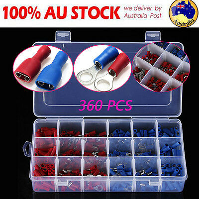 360PCS Terminals Crimp Assorted Insulated Electrical Wire Spade Connector Set