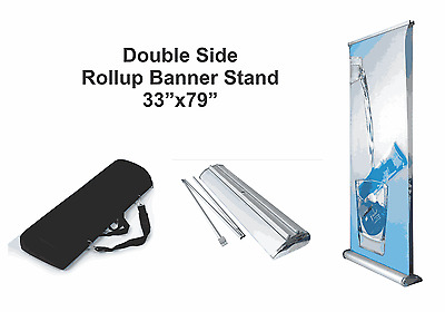 "Double (2-side) Retractable Roll Up Banner Stand (Display), 33"" x 79''"