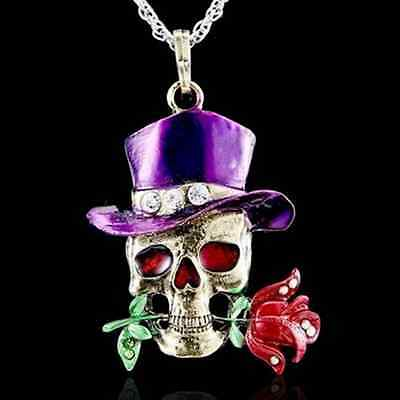 Fashionable Women Men Skull Flower Silver Necklace Pendant Jewelry Chain New