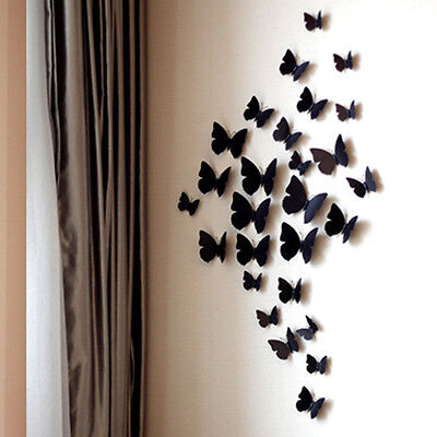 Lot 12PC/Set DIY 3D Butterfly Wall Sticker Home Decor Room Decoration Fashion