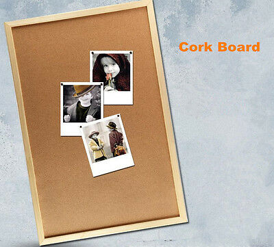 Wooden Frame Cork Board Pins Corkboard Notice Board 60cm x 90cm