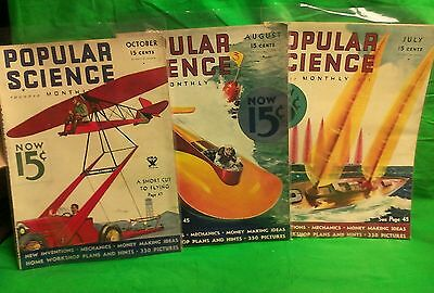 Popular Science monthly 1933 July, August & Oct. 3 issues