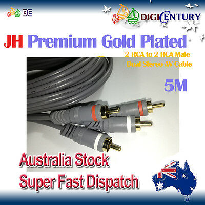 *JH* Premium Gold Plated 2 RCA to 2 RCA Male Dual Stereo Audio Vidio Cable 5M