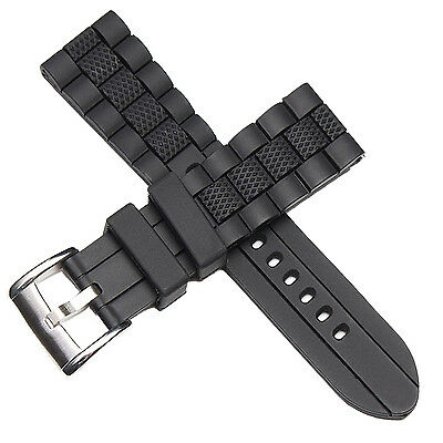 20mm Black Silicone Rubber Watch Strap Band For Diver Sport watch replacement