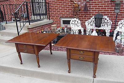 Rare 2 Willett Drop Leaf 1-Drawer End Tables Mid Century Modern Cherry Furniture