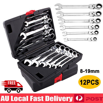 NEW 12Pcs 8-19mm Flexible Head Ratchet Gear Spanner Wrench Set STEEL Canvas Bag