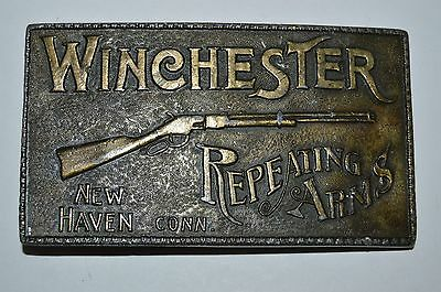 Vintage 1970s WINCHESTER Rifles Repeating Arms New Haven Conn GUNS Belt Buckle