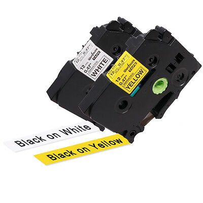 TZe-231 TZe631 Black on White P-Touch Label Tape Compatible for Brother 12mm 2PK