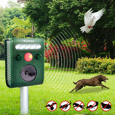 KCASA Ultrasonic PIR Solar Power Pest Bird Animal Repeller Repellent LED Light