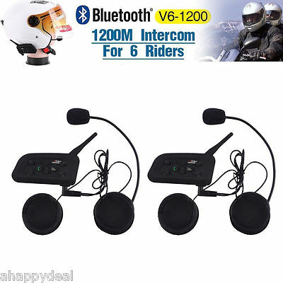 2x V6 Motorrad Helm Bluetooth A2DP Gegensprechanlage Intercom Headset BT 1200M