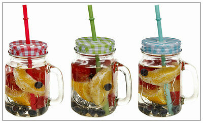 6x Clear Large Glass Mason Jam Jars Drinking Summer Cocktail Jar Handle & Straw
