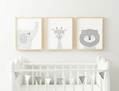 "Jungle  Nursery Animals Prints Set  -Modern Art 10"" x 8"", A4, A3 Various styles"