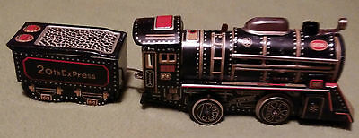 Vintage Tin Toy Cable Train Locomotive Set Battery Operated
