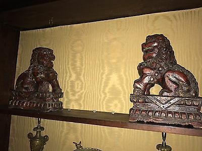 Pair Antique 19th Century Chinese Carved Wood Foo Dogs Guardians Statutes Qing