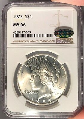1923 $1 NGC MS 66 CAC Peace Silver Dollar