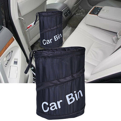 Portable Car Foldable Dust Bin Bucket Garbage Trash Container Box Bag Black