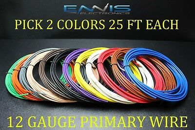 16 GAUGE GPT WIRE PICK 7 COLORS 25 FT EA PRIMARY AWG STRANDED 100/% OFC COPPER