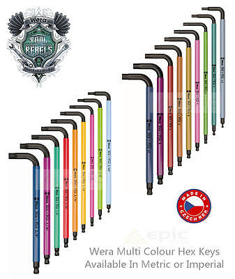 WERA Hex-Plus Multi Colour Ball-End Hex Allen Key Metric or Imperial Choose Size