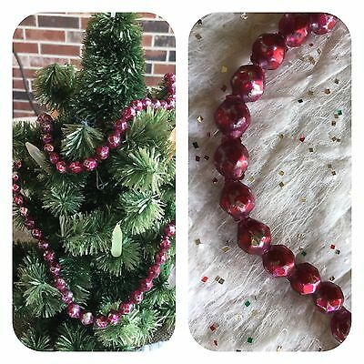 """Vintage Mardi Gras Necklace,Red Faceted 3/8"""" Mercury Glass,Feather Tree Garland"""