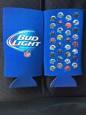 New! 4 Authentic NFL Bud Light Beer 16 oz Slim Bottle Can Koozie Coozie Coolie