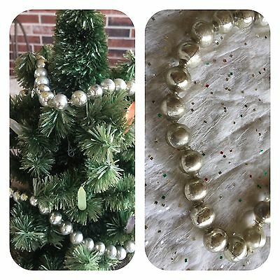 """Vintage Mardi Gras Necklace Mercury Glass Beads Silver 1/2"""" Feather Tree Garland"""