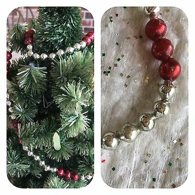 Vintage Mardi Gras Necklace,Red and Silver Candy Cane Mercury Glass Bead Garland