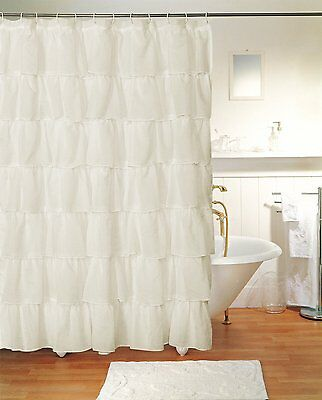 Gypsy Crushed Sheer Shabby Chic Layered Voile Fabric Shower Curtain 70Wx72L