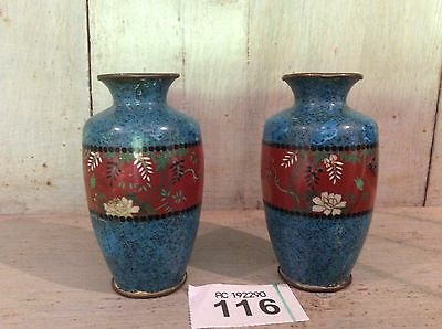 "Pair Of Japanese Meiji Cloisonne Enamel Miniature Vases Approx 3.5"" Tall"