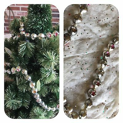 Vintage Mardi Gras Necklace, Feather Tree Garland Double Indent Mercury Glass