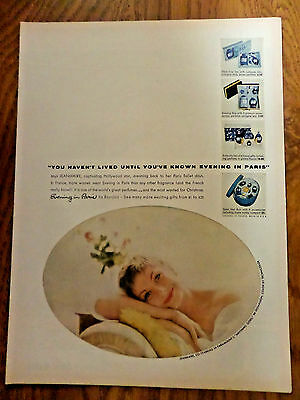 1955 Evening in Paris Perfume Cologne Ad Star Jeanmaire You Haven't Lived Until
