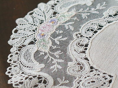 Vtg Antique Schiffli Net Lace Doily Placemat Silk Petit Point Rose Embroidery