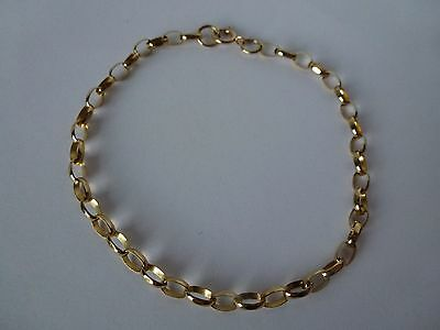 9ct 9carat Yellow Gold Belcher Linked Bracelet, 7 1/4''