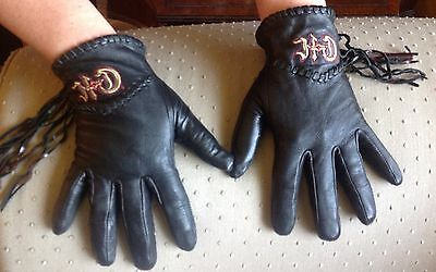 "Women's Genuine Leather ""HARLEY DAVIDSON"" Black Riding Gloves - Size Small"