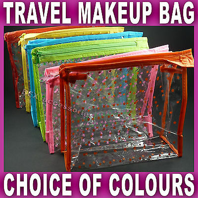Travel MAKEUP BAG Zipped BAG CLEAR TRANSPARENT Airport for Liquid Toiletries