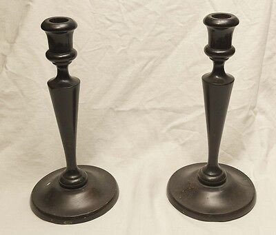 Pair of Antique Turned Wooden Candle Sticks – Excellent