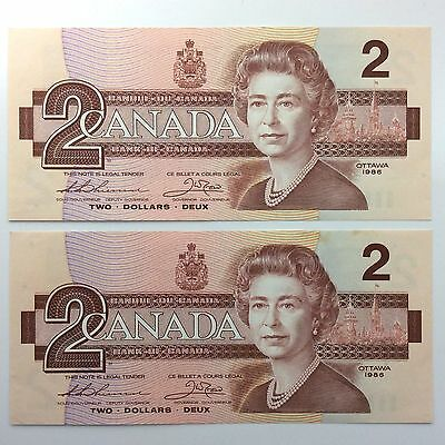 1986 Canada Consecutive Two 2 Dollar Canadian Bill Note Series BBG Banknote A952