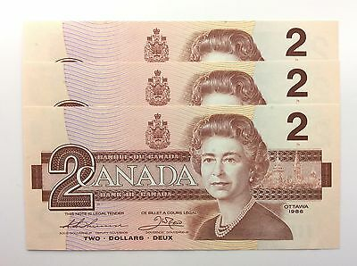 1986 Canada 3 Consecutive Two 2 Dollar Canadian Notes Series BGG Banknote A953
