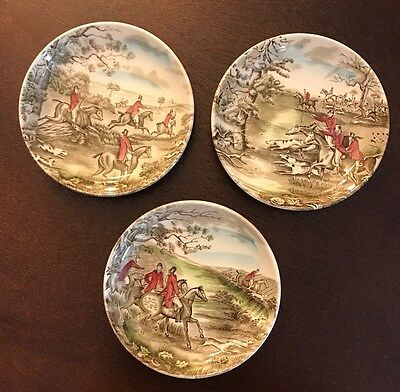Lot of 3 Tally Ho Fox Hunting Pin Plates by Johnson Brothers, England