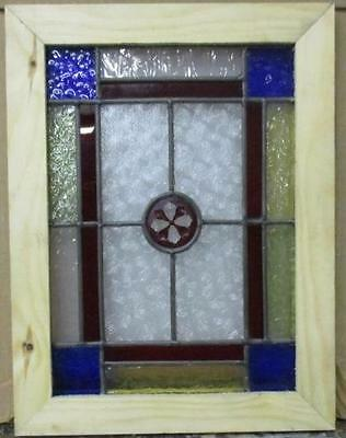 "VICTORIAN OLD ENGLISH LEADED STAINED GLASS WINDOW Pretty Floral Jewel 9"" x 12"""