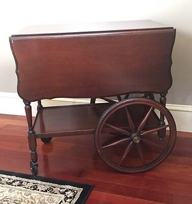 "Antique ""Imperial"" Grand Rapids Mich. Mahogany Tea Cart Beverage Cart #123"