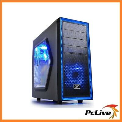 Deepcool Tesseract SW ATX Case Blue LED Quiet USB 3.0 Black Computer Mid Tower