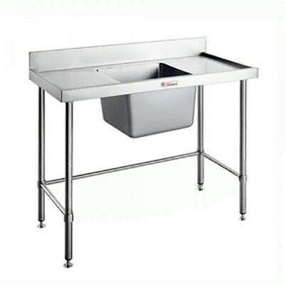 Single Sink Centre Bowl w Leg Brace & Splashback 1500x600x900mm Simply Stainless