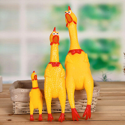 Squeeze Shrilling Screaming Rubber Chicken Pet Dog Bite Toy Squeaker Chew Funny
