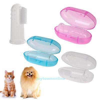 Pet Dog Cat Finger Toothbrush Soft Silicone Teeth Cleaning Dental Care With Box