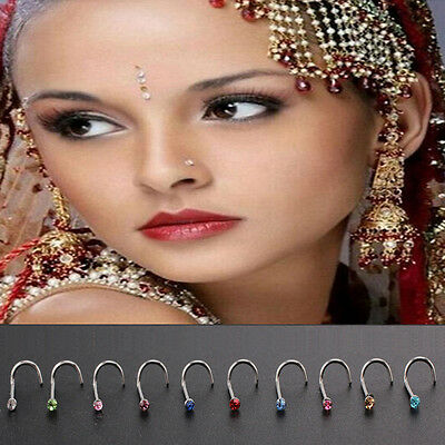 10pcs/Set Nose Ring Stud Surgical Steel Thin Gem Crystal Screw Body Piercing New