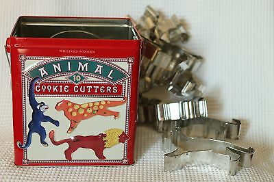 Williams-Sonoma Animals Cookie Cutters Set Of 10 with tin box giraffe lion eleph