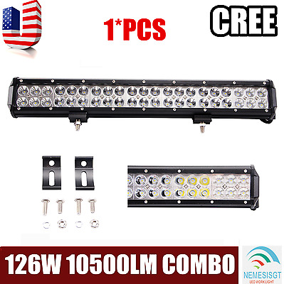 """126W 20"""" inch LED WORK LIGHT BAR FLOOD SPOT COMBO OFFROAD 4WD SUV Driving LAMP"""