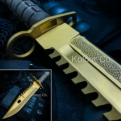 """13"""" CS GO Tactical Fixed Blade Hunting Knife Bayonet Bowie LORE GOLD New"""