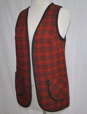 CLASSIC 70's VINTAGE SOFT WELSH WOLLENS TAPESTRY WOOL GILET WAISTCOAT 10-12 MINT